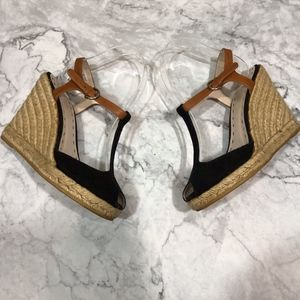 Coach Canvas T-Strap Espadrille Wedge Heels